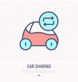 car sharing thin line icon vector image