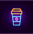coffee cup neon sign vector image vector image