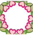 colorful wreath frame poster with heart plants and vector image