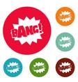 comic boom bang icons circle set vector image vector image