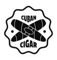 cuban cigar logo simple style vector image