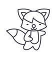 cute fox line icon sign on vector image vector image