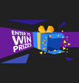 enter to win prizes gift box cartoon origami style vector image vector image