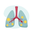flat human lungs with covid-19 fighting vector image vector image