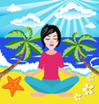 girl meditates in the yoga lotus position in seasi vector image vector image