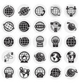 globe related icons set on circles background for vector image