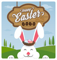 Happy easter and smiling rabbit vector image