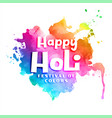 happy holi colorful watercolor abstract vector image vector image