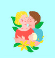 happy young couple family father and mother vector image vector image