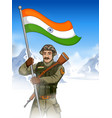 indian army soilder holding falg of india with vector image vector image