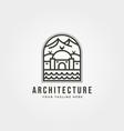 islamic landscape icon line logo symbol vector image vector image