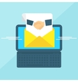 laptop with envelope handshake vector image vector image