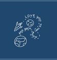 love you to moon and back rocket and earth vector image vector image