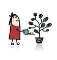 Man watering a money tree vector image