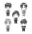 monochrome set silhouette full body cute anime vector image vector image