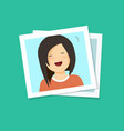 photo frame with smiling happy girl flat cartoon vector image vector image