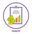 profit logotype with statistical chart and money vector image