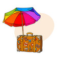 rainbow colored open beach umbrella and travel vector image