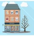 Retro house with books shop vector image vector image