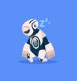 robot sleeping cyborg isolated on blue background vector image vector image