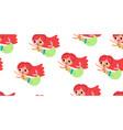seamless pattern - cute little mermaids seashells vector image