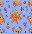 seamless pattern with cartoon crab and starfish vector image