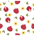 seamless pattern with pomegranate fruits vector image