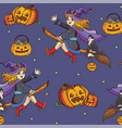 seamless pattern with witch and halloween theme vector image vector image