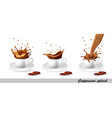 set coffee and cappuccino splash in cup vector image