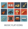 set flat music icons vector image