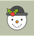 snowman and mistletoe hat filled outline icon for vector image vector image