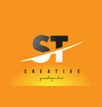 st s t letter modern logo design with yellow vector image vector image