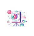 statistics and presentation icon white board vector image vector image