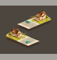 suburban family houses with a sedan on street vector image vector image