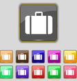 suitcase icon sign Set with eleven colored buttons vector image vector image