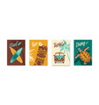 surfing color hand drawn poster set vector image
