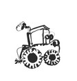 tractor sketch hand drawn agrimotor cartoon vector image