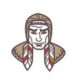 tribe with feathers in hair vector image vector image