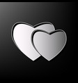 two hearts sign gray 3d printed icon on vector image