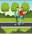 two male friends talking and smiling while walking vector image vector image