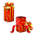 two red gift boxes open and closed isolated vector image vector image