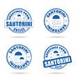 santorini greek island grunge rubber in blue and vector image