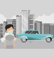 air pollution and boy in mask standing on vector image vector image