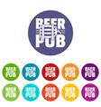 beer pub icons set color vector image vector image