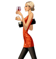 blond party girl with drink vector image