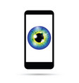 blue realistic eyeball on a cell mobile phone vector image vector image