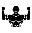 bodybuilder icon black sign vector image