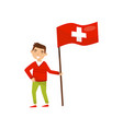 boy holding national flag of switzerland design vector image