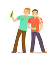 cartoon characters two drunk men with bottles vector image vector image