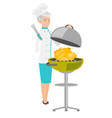 caucasian chef cooking chicken on barbecue grill vector image vector image